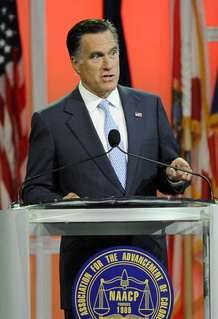 Mitt Romney speaks at the NAACP annual convention Wednesday, July 11, 2012 in Houston.