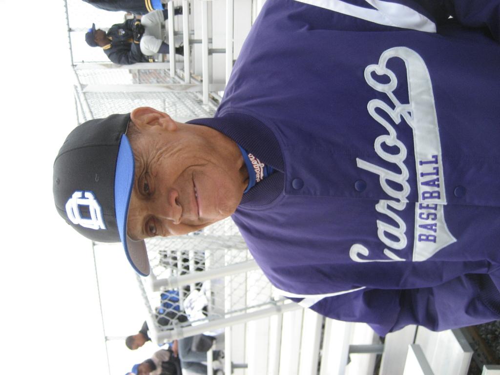 Maury Wills wearing his hometown high school jacket