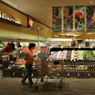 "A Safeway customer browses in the fruit and vegetable section at Safeway's new ""Lifestyle"" store July 18, 2007 in Livermore, California."