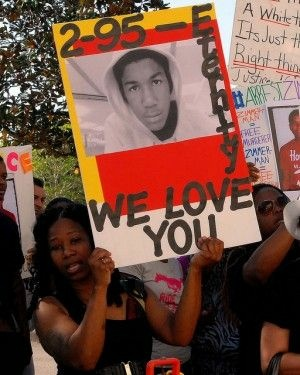 At a protest demanding justice in the killing of Trayvon Martin, March 19, 2012