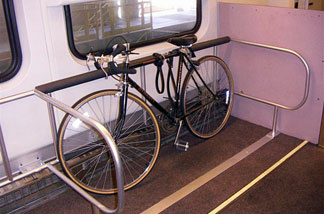 A bike on one of Metrolink's new bicycle cars.