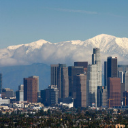 Snow blankets the mountains behind the downtown skyline in the Greater Los Angeles Area January 7, 2008 in Los Angeles, California.