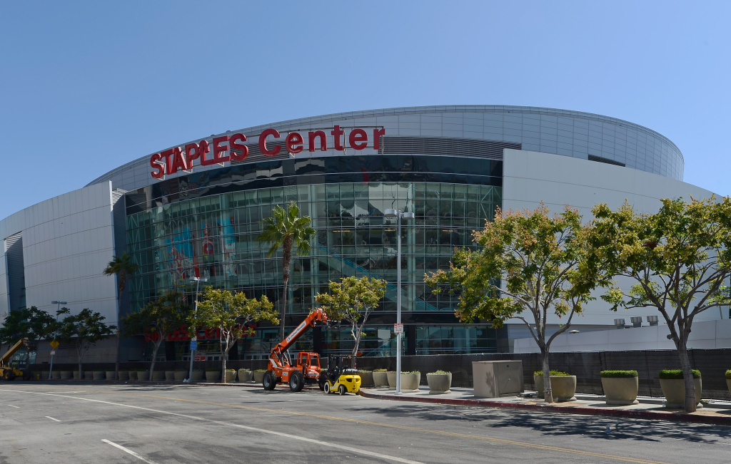 The L.A. Live entertainment complex, which includes the Staples Center and Nokia Theater, in Los Angeles, California.