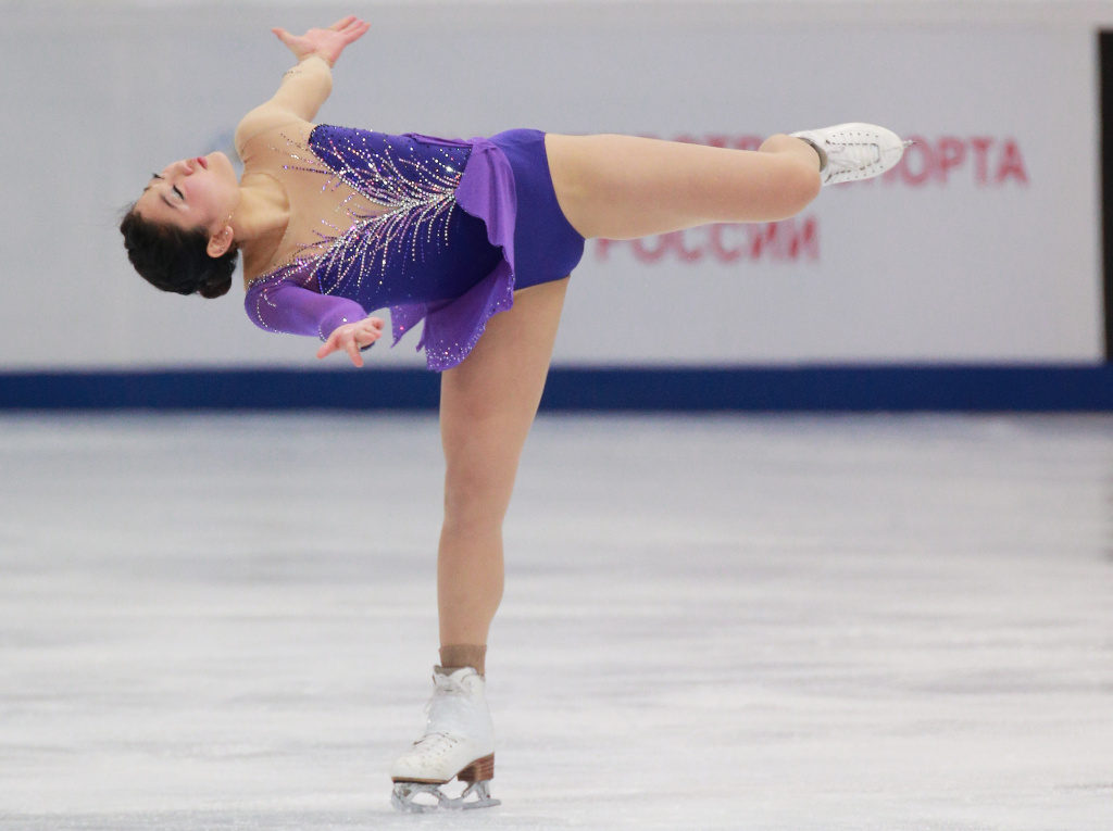 Mirai Nagasu of USA skates in the Ladies Short Programm Program during ISU Rostelecom Cup of Figure Skating 2014 on November 14, 2014 in Moscow, Russia.