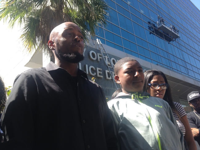 Relatives of John Del Real, 39, attend a news conference announcing the filing of a lawsuit against Long Beach police for 'excessive force' on April 14, 2014.