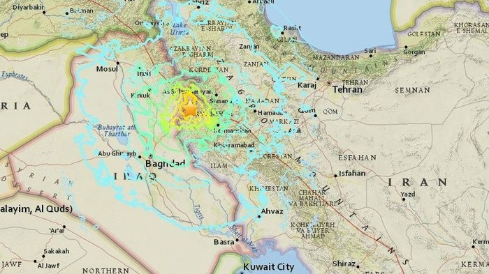 The earthquake struck in Iran near the border with Iraq. In that area, the U.S. Geological Survey says,