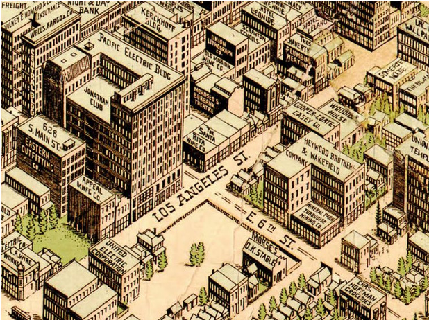 Birdseye View Pub. Co.'s birdseye map of Los Angeles, California in 1909.