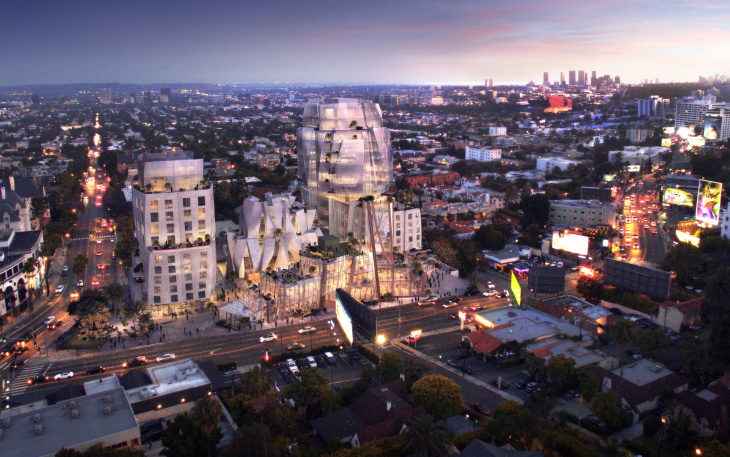 Rendering of a Frank Gehry project on Sunset Boulevard.