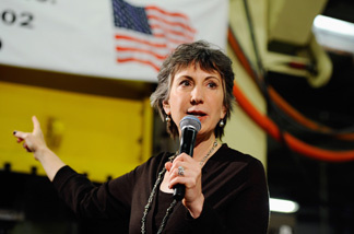 Republican candidate for U.S. Senate Carly Fiorina speaks during a town hall meeting at Aranda Tools Inc. during a campaign event on October 6, 2010 in Huntington Beach, California. Fiorina is running against incumbent Democrat U.S. Sen. Barbara Boxer.