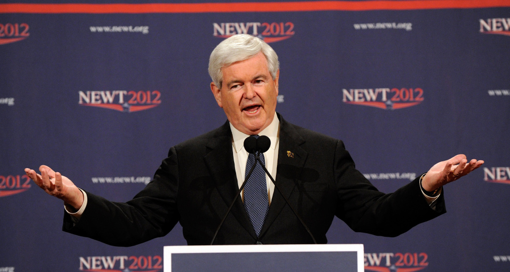 Republican presidential candidate, former Speaker of the House Newt Gingrich speaks at a news conference at The Venetian on February 4, 2012 in Las Vegas, Nevada.