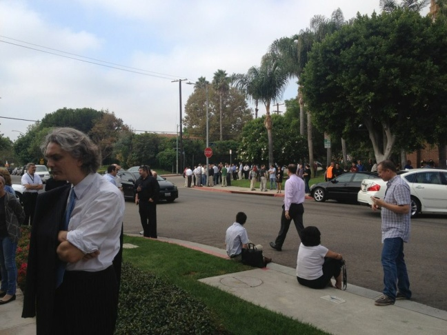 The clock behind the evacuation of KNX on Tuesday, Sept. 25, 2012.
