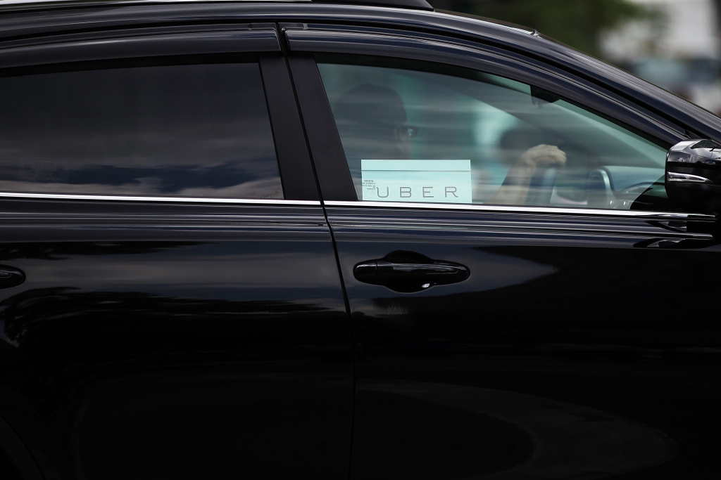 An Uber vehicle is viewed in Manhattan on July 20, 2015 in New York City.