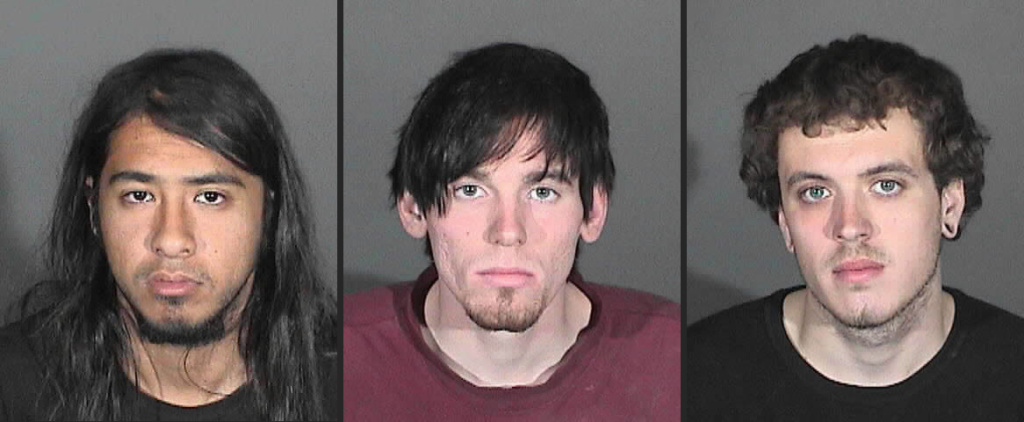 Steven Aguirre (at left), 21, a transient; Jonathan Jarrell (center), 23, of Irwindale; and Clifford Henry (at right), Jr, 22, of Glendora, have been accused of starting the Colby Fire in Glendora.
